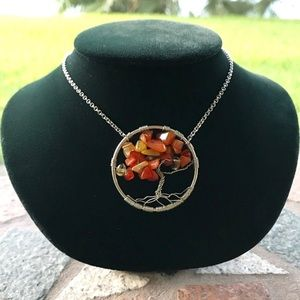 carnelian wire wrap tree of life necklace